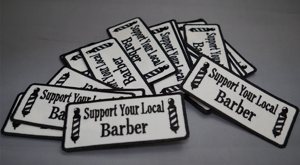 support your local barberワッペン 8ball barber supply エイトボール