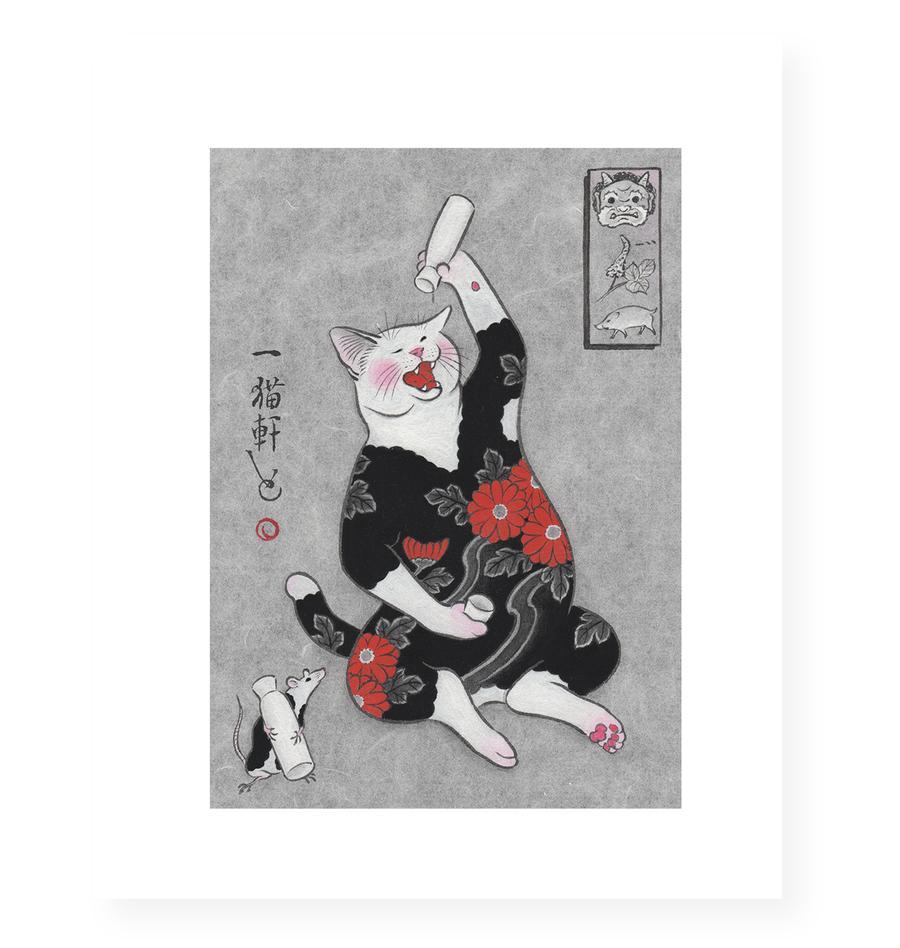 MonmonCats Drunk Cat Print