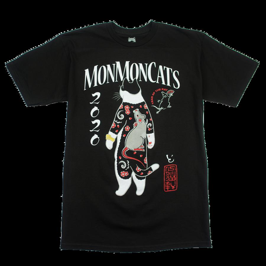 Monmon Cats BLACK Gakubori Cat Tee