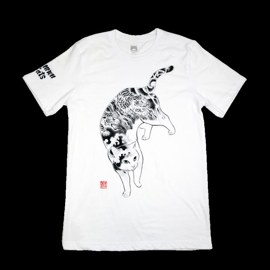 Monmon Cats Tiger Cat Tee White