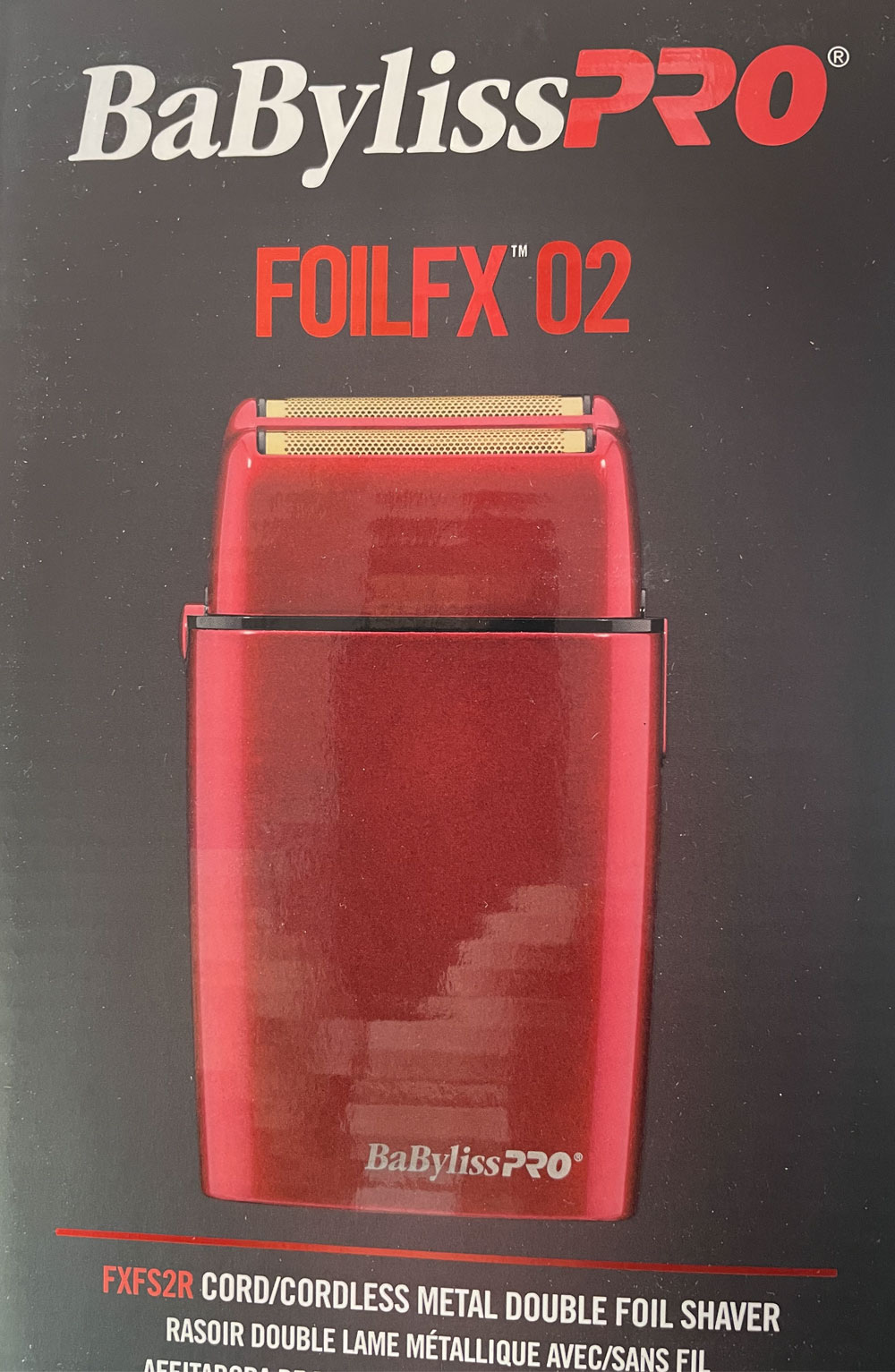 BabylissPro FoilFX02 Cordless RED Metal Double Foil Shaver