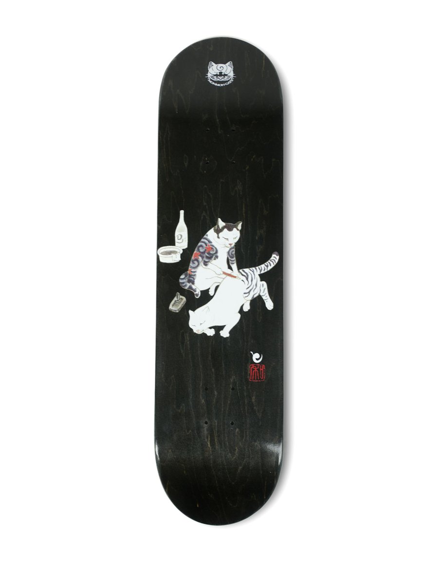Monmon Cats Tebori Cat Skate Deck - Black